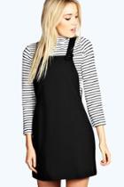 Boohoo Leandra Woven Pinafore Dress Black