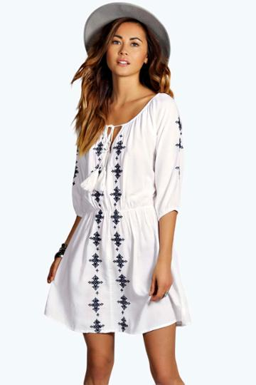 Boohoo Penny Embroidered Dress - White