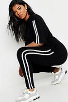 Boohoo Plus Stripe Short Sleeve Lounge Set