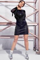 Boohoo Premium Petite Ivy Studded Pu Mini Skirt Black