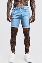 Boohoo Stretch Skinny Fit Pale Blue Denim Shorts
