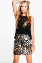 Boohoo Amarah Leopard Print Mini Skirt Leopard