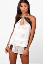 Boohoo Jasmine Halterneck Satin & Lace Shorts