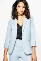 Boohoo Heidi Tailored Button Woven Blazer Grey