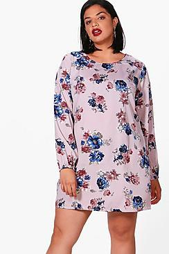 Boohoo Plus Sasha Floral Printed Shift Dress