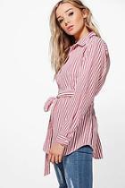 Boohoo Tilly Tie Striped Shirt