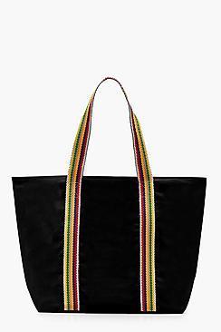 Boohoo Lucy Striped Handle Beach Bag