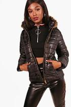 Boohoo Crop Faux Fur Hood Padded Jacket