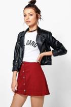 Boohoo Jen Berry Button Through A Line Denim Skirt Berry