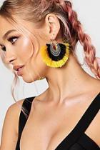 Boohoo Ava Boho Hoop Tassel Statement Earrings