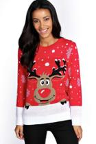 Boohoo Reiny Reindeer Christmas Jumper Red