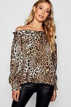 Boohoo Off The Shoulder Leopard Print Blouse