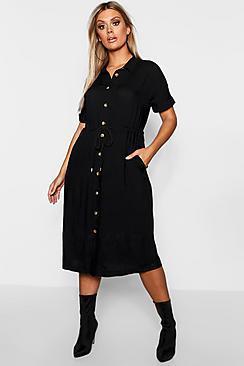 Boohoo Plus Drawstring Waist Button Shirt Midi Dress