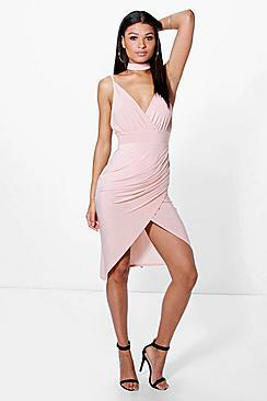 Boohoo Freyja Slinky Wrap Tie Detail Midi Dress