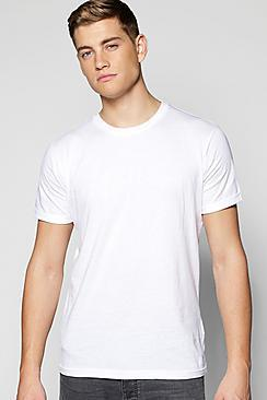 Boohoo Crew Neck T Shirt With Roll Sleeves