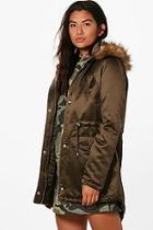 Boohoo Violet Satin Parka With Faux Fur Hood