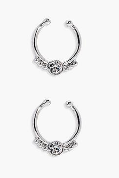 Boohoo Rose Diamante Septum Ring- 2pack