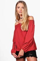 Boohoo Millie Woven Off The Shoulder Top