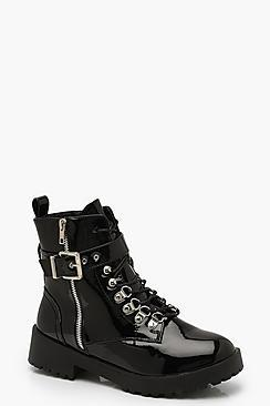 Boohoo Patent Buckle Strap Cleated Hiker Boots