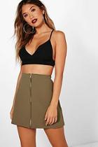 Boohoo Abigail Zip Through A Line Mini Skirt