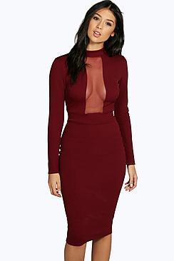 Boohoo Ana Mesh Panel Long Sleeve Midi Bodycon Dress
