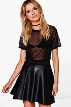 Boohoo Harriet Leather Panel Skater Mini Skirt