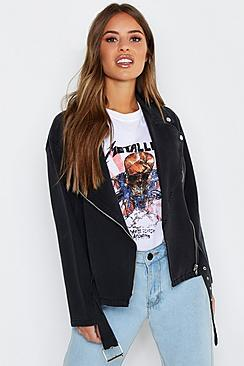 Boohoo Petite Washed Denim Biker Jacket