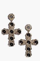 Boohoo Rose Ornate Cross Earrings