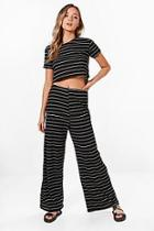 Boohoo Hannah Stripe Wide Leg Trouser & Top Knitted Lounge Set