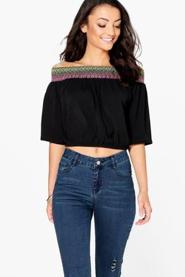 Boohoo Tall Mabelle Off The Shoulder Woven Trim Top Black
