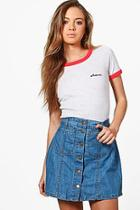 Boohoo Rose Button Through Denim Mini Skirt