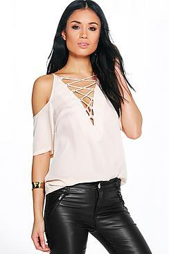 Boohoo Esme Lace Up Open Shoulder Blouse