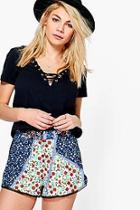 Boohoo Lana Crochet Trim Floral Shorts