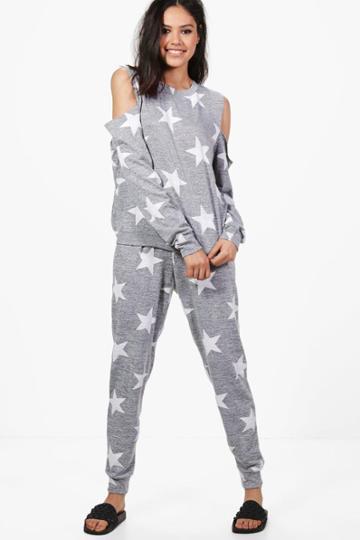 Boohoo Rebecca Star Printed Cold Shoulder Jogger Set Grey