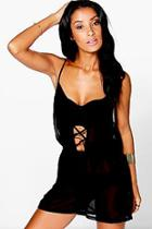 Boohoo Erin Lace Up Front Beach Playsuit