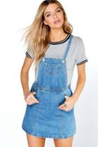 Boohoo Laura Denim Pinafore Dress Blue