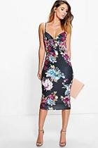 Boohoo Lana Dark Floral Wrap Midi Dress