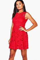 Boohoo Boutique Austen Lace Sleeveless Skater Dress