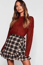 Boohoo Woven Check Wrap & Ruffle Mini Skirt