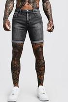 Boohoo Stretch Skinny Fit Charcoal Denim Shorts