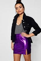 Boohoo Metallic Foil Split Mini Skirt