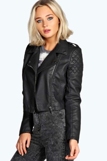 Boohoo Holly Crop Faux Leather Jacket - Black