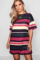 Boohoo Plus Striped Tshirt Dress