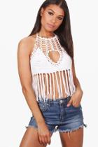 Boohoo Arabella Tassel Crochet Halterneck Top White