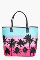 Boohoo Lucy Palm Scene Beach Bag