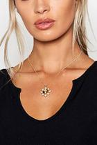 Boohoo Tortoiseshell & Diamante Cross Pendant