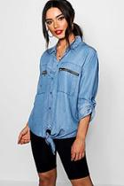 Boohoo Polly Utility Pocket Oversized Denim Shirt
