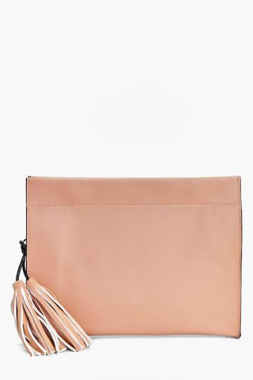 Boohoo Yasmin Structured Tassel Clutch Bag Blush