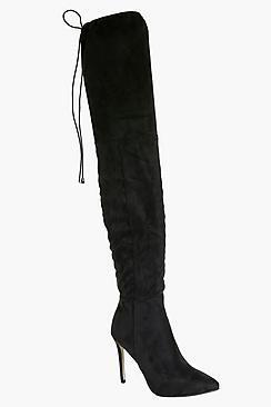 Boohoo Anya Pointed Toe Thigh High Boot