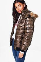 Boohoo Eve Faux Fur Hood Padded Jacket